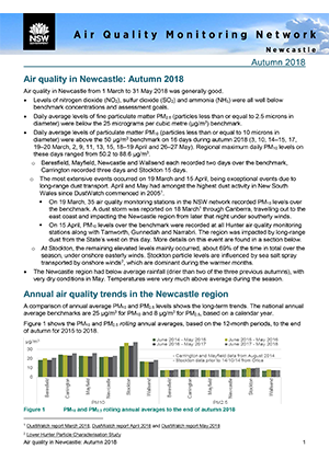 Air Quality Monitoring Network Newcastle Autumn 2018 seasonal newsletter