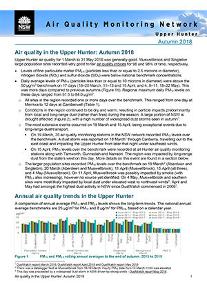 Air Quality Monitoring Network Upper Hunter Autumn 2018 seasonal newsletter