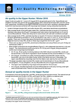 Air quality in the Upper Hunter: Winter 2018