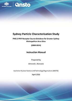Cover for Sydney Particle Characterisation Study database instruction manual