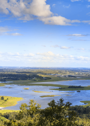 Lookout and picnic area view across Penrith Lakes and Cumberland Plains, Hawkesbury Heights, Yellomundee Regional Park