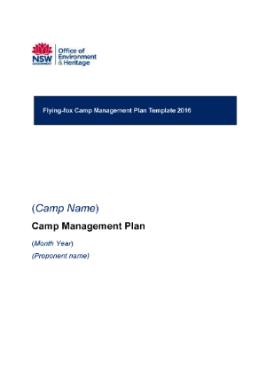 Flying Fox Camp Management Plan Template 2016