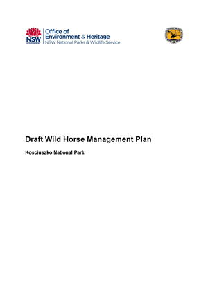 Kosciuszko National park Draft Wild Horse Management Plan cover