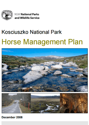 Kosciuszko National Park Horse Management Plan 2009 cover