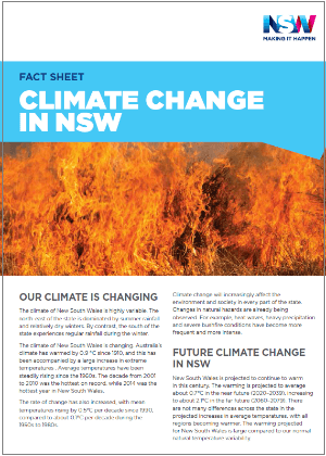 Climate change in NSW fact sheet cover