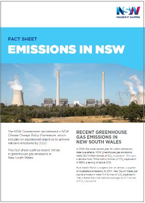 Emissions in NSW fact sheet cover