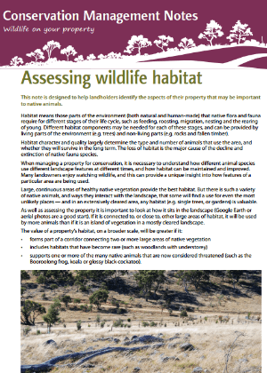Assessing wildlife habitat: Conservation management notes cover
