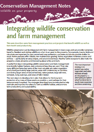 Integrating conservation and farm management: Conservation management notes cover