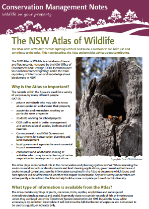 NSW Atlas of Wildlife: Conservation management notes cover