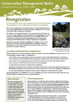 Revegetation: Conservation management notes cover