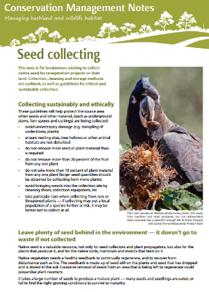 Seed collecting: Conservation management notes cover