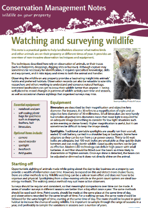 Watching and surveying wildlife: Conservation management notes cover