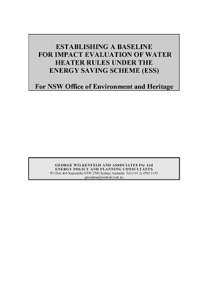 Cover of Establishing a Baseline for Impact Evaluation of Water Heater Rules under the ESS