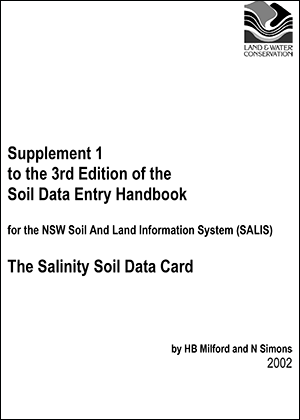 Cover of Supplement 1 to the 3rd Edition of the Soil Data Entry Handbook for the NSW Soil And Land Information System (SALIS): The Salinity Soil Data Card