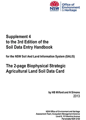 Cover of Supplement 4 to the 3rd Edition of the Soil Data Entry Handbook
