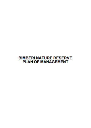 Bimberi Nature Reserve plan of management cover
