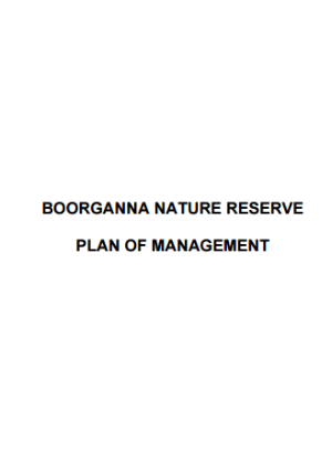 Boorganna Nature Reserve Plan of Management cover