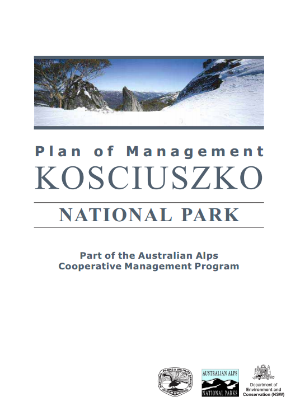 Kosciuszko National Park Plan of Management Part of the Australian Alps Cooperative Management Program cover