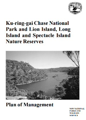 Ku-ring-gai Chase National Park and Lion Island, Long Island and Spectacle Island Nature Reserves Plan of Management cover
