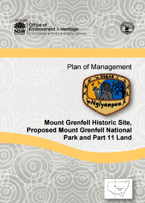 Mount Grenfell Historic Site, Proposed Mount Grenfell National Park and Part 11 Land Plan of Management cover