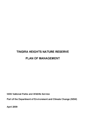 Tingira Heights Nature Reserve Plan of Management cover