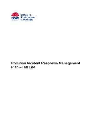 Hill End Pollution Incident Response Management Plan cover
