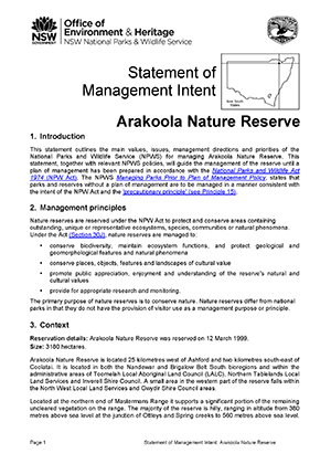 Arakoola Nature Reserve Statement of Management Intent