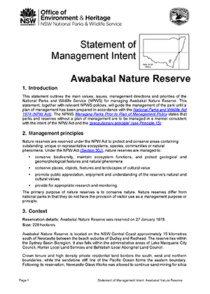 Awabakal Nature Reserve Statement of Management Intent cover