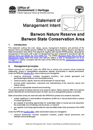 Barwon Nature Reserve and State Conservation Area Statement of Management Intent