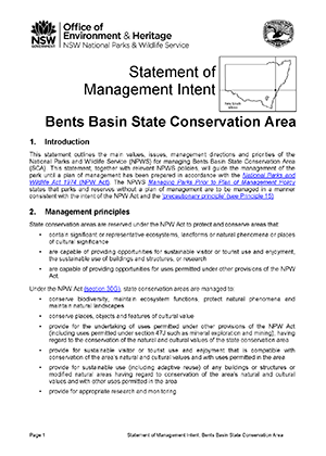 Bents Basin State Conservation Area Statement of Management Intent cover