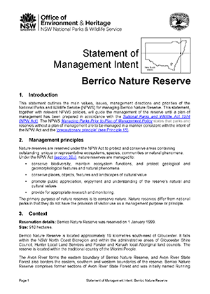 Berrico Nature Reserve Statement of Management Intent