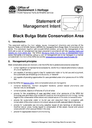 Black Bulga State Conservation Area Statement of Management Intent cover