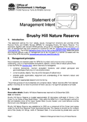 Brushy Hill Nature Reserve Statement of Management Intent cover