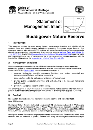 Buddigower Nature Reserve Statement of Management Intent cover