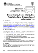 Bushy, Corrie, One Tree and Snapper island Nature Reserves Statement of Management Intent cover