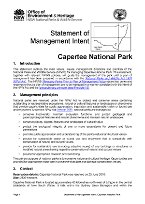 Capertee National Park Statement of Management Intent