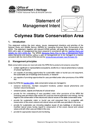 Colymea State Conservation Area Statement of Management Intent