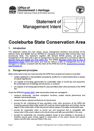 Cooleburba State Conservation AreaStatement of Management Intent cover