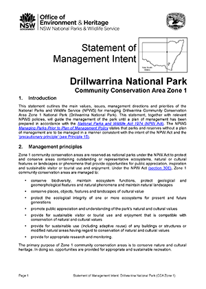 Drillwarrina National Park Statement of Management Intent cover