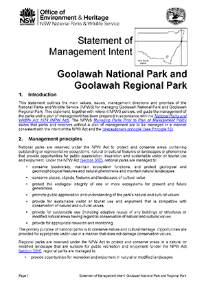 Goolawah National Park and Goolawah Regional Park Statement of Management Intent