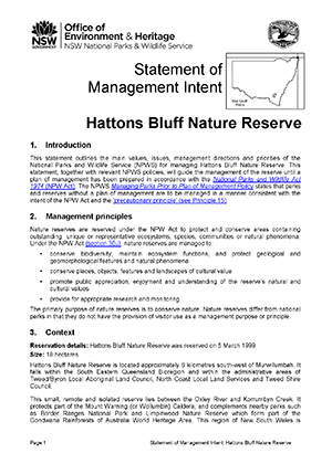 Hattons Bluff Nature Reserve Statement of Management Intent