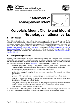 Koreelah Mount Clunie and Mount Nothofagus National Parks Statement of Management Intent cover