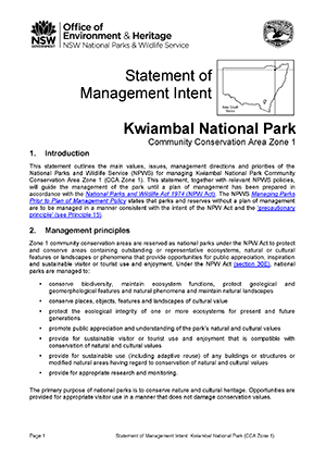 Kwiambal National Park Statement of Management Intent cover