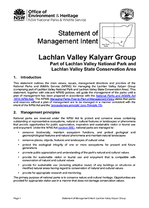 Lachlan Valley Kalyarr Group Statement of Management Intent cover