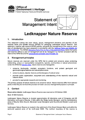 Ledknapper Nature Reserve Statement of Management Intent cover