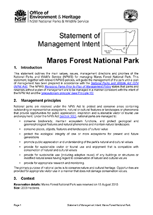Mares Forest National Park Statement of Management Intent cover