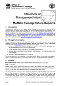 Moffats Swamp Nature Reserve Statement of Management Intent cover