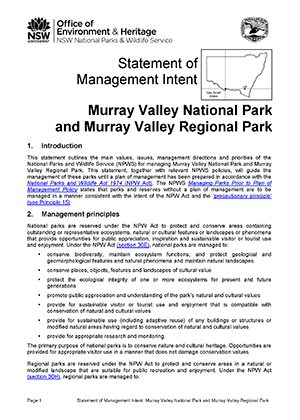 Murray Valley National Park and Regional Park Statement of Management Intent cover