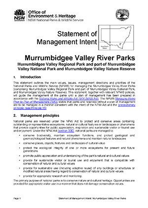 Murrumbidgee Valley River Parks Statement of Management Intent cover