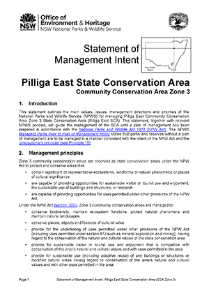 Pilliga East State Conservation Area (CCA Zone 3) Statement of Management Intent